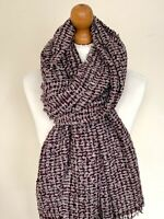 LADIES PURPLE GREY WOVEN  KNITTED SCARF WINTER WARM SOFT SCARF WRAP GIFT IDEA