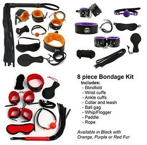 Bondage Set Kit 8pc Collar Restraint Blindfold High Quality Fur Adult Toys