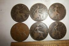 6 Great Britain One Penny Coins 1902 1903 1905 1906 1908 1910