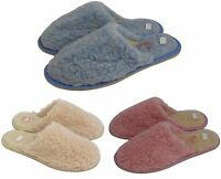 Womens Natural Sheep's Wool Pink Cream Blue Slipper Mules
