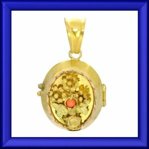 Lovely gold antique locket, coral floral pendant, holds photo or pills M-F