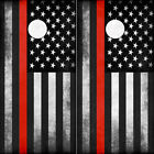 Cornhole Wraps - Fallen Fire Fighter Thin Red Line Subdued American Flag 2 Sheet