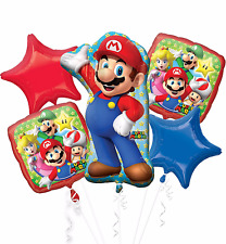 NEW Super Mario Brothers 5pc Foil Balloon Bouquet Birthday Party Favor Supplies