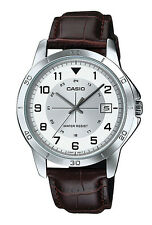 Casio MTP-V008L-7B2 Men's Standard Brown Leather Band Date White Dial Watch