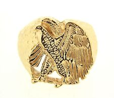 14K Yellow Gold Eagle Ring Men's Excellent Condition Hallmarked 14K Size 7.5