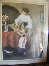 Mother and little girl - framed print of an old picture