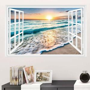 3D Fake Window Sunset Ocean Beach Vinyl Wall Sticker Home Decal 51*72cm