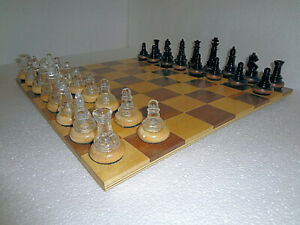 Classic Chess Set, Crafted Glass & Wood Pieces, Plus Wood Board - Great Gift