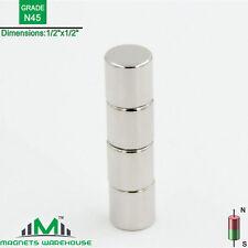 "4-count neodymium N45 Ndfeb cylinder magnets 1/2 x 1/2"" (true N45)"