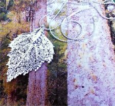 Real Leaf Necklace, BIRCH leaf preserved in STerling Silver dipped, USA made