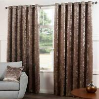 Champagne Eyelet Curtains Crushed Velvet Plain Ready Made Ring Top Curtain Pairs