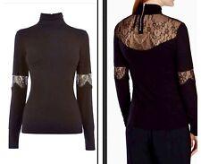 Karen Millen French Lace Black Top T Shirt Blouse Jersey High Neck 10 Uk New
