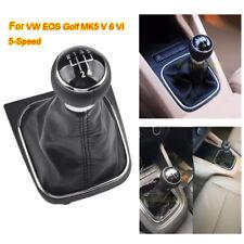 pour VW EOS GOLF MK5 V 6 VI POMMEAU DE LEVIER 5 VITESSE + SOUFFLET EN CUIR NOIR