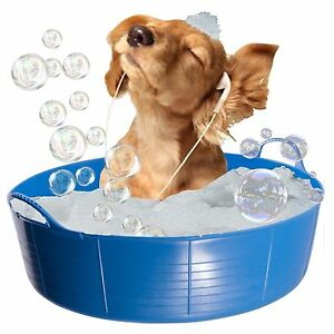 BLUE DOG BATH, DOG PADDLING POOL, DOGGY POOL, FLEXI SHALLOW 35L TUBTRUG PET