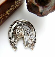 ANTIQUE SILVER Large HORSE IN HORSESHOE Stamping ~ Oxidized Finding (FB-6031)