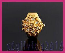 Retro golden lotus fleur clair strass acier inoxydable hommes femmes anneau montre