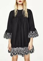 NEW WITH TAGS! Zara Basic Special Collection Black dress with embroidery- size S