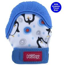 Nuby Soothing Teething Mitten with Hygienic Travel Bag, Blue Penguins, 1 Count