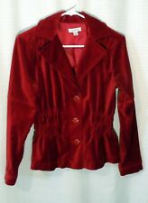 Joan Rivers Red Velvet Rouched Gathered Waist Cotton Stretch Jacket Blazer Top S