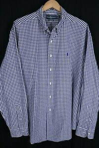 Ralph Lauren Mens sz XXL Blue White Check Long Sleeve Classic Fit Shirt