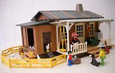Vtg Playmobil 3769 Western Farmhouse w/ Porch 5 Figures Pets Chickens Extras Box