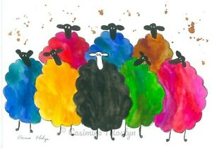 """Greeting card,  Colourful Sheep    7"""" by 5""""  By casimira Mostyn"""