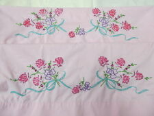 Vintage Embroidered Standard Pink Pillowcase Set Ribbons Flowers Crisp and New