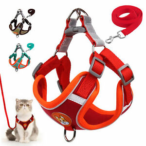 Reflective Dog Cat Pet Step In Harness and Lead Front Leading Soft Walking Vest