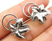 925 Sterling Silver - Vintage Floral Leaf Non Pierced Screw Back Earrings E4081