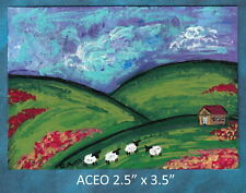 Original ACEO - Sheep Farm House, Abstract - miniature acrylic painting