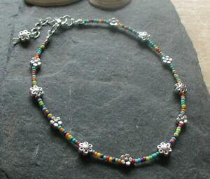 Bright Glass Beads Daisy Flowers Anklet Ankle Bracelet Hippy Festival Boho