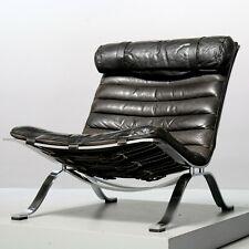 Ari Sessel von Arne Norell, 1966 Möbel AB Aneby Vintage Leder schwarz