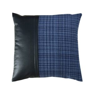Sofa PU Leather Cushion Case Tartan Check Patchwork Pillowcase Only Cover Decor