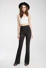 NWT Forever 21 Charcoal Heather Long Knit Stretch Flare Pants Flarred Pant XS