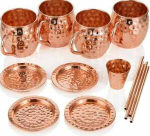 Vodka Promotional Moscow Mule 4 Copper Mugs 4 Straws 1 Shot Cup Combo Gift Set