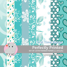 18 Patterned Paper Sq 140mm -Perfectly Printed Craft Paper - Teal Time
