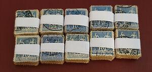 Lot de 1000 (10 bottes de 100 timbres) Sage 15c bleus 90 101 oblitérés France