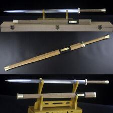 Handmade Damascus Folded Steel Blade Chinese Sword Rosewood Sheath Brass Fitting