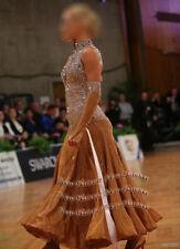 B7350 Ballroom Standard Tango Waltz Quickstep Dress custom made  Brown