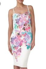 NEW LIPSY WHITE TEXTURED FLORAL BODYCON CAMI DRESS WITH REAR SPLIT SIZE 12 £60