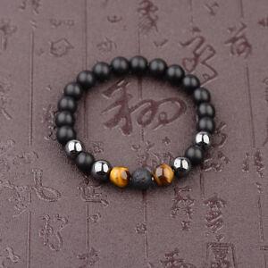 10mm Black Onyx+Lava+Hematite+Tigers Eye Gemstone Men's Beaded Bracelets Gifts