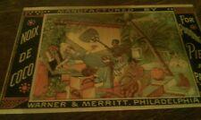 Victorian Trade Card NOIX DE COCO  Warner & Merritt Phila woman in hammock TC-2