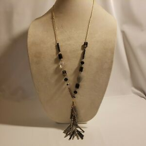 New Time & Tru Women's Gold Tone Flapper Necklace with Tassels Black Gray Glass
