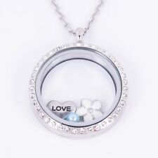 Floating Locket Crystal Stainless Steel SILVER REVERSIBLE 30mm + Chain + Charms