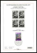 SCHWEIZ SD SCHWARZDRUCK-ETB 1988 EUROPA CEPT KOMMUNIKATION BLACK PRINT LTD ze30