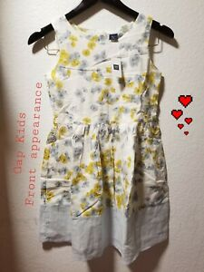 Gap Kids Girls Size L (10) White Floral Knee/more Length Dress NWT