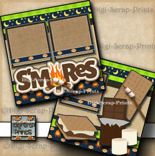 S'Mores camping 2 premade scrapbook pages paper piecing layout Digiscrap #A0114