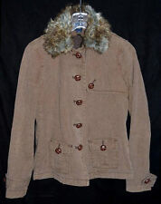 GAP Brown Herringbone Cotton Jacket Faux Fox Fur Collar Detachable Lining Size S