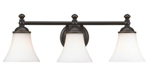 Hampton Bay Crawley 3-Light Oil-Rubbed Bronze Vanity Light w' White Glass Shades