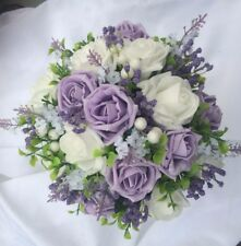 Posy Bouquet White Lavender & Lilac & White Roses & Purple Gyp & White Berries